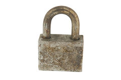 Rust iron lock on white Royalty Free Stock Photo
