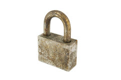 Rust iron lock on white Stock Photo