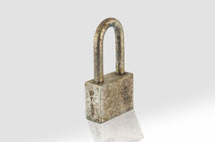 Rust iron lock on white Stock Photography