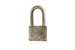 Rust iron lock on white Stock Images