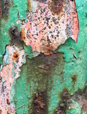 Rust on metal with green paint Royalty Free Stock Images