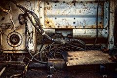 Rust Metal Parts  Cables. Rusty metal parts in old tank Royalty Free Stock Images