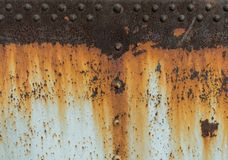 Rust metal texture with riveting, abstract grunge background Stock Photography