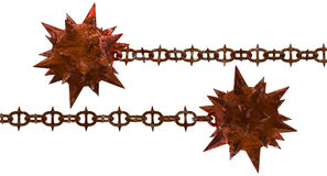 Rust meteor hammer with spiky chain. Flying rustic flying dragons fist with spikes. Isolated weapon heavy metal rusty textures. PNG with transparent background Stock Photography