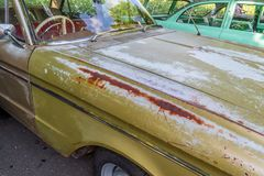 Rust on a car bonnet. Rust on a old car bonnet royalty free stock photos