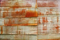 Rust on old corrugated sheets Stock Photos