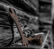Rust. Old rusty tool with b&w background. And an Axe-blade Stock Photos