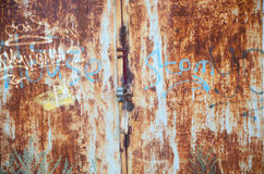 Rust. Old rusty wall and padlock Royalty Free Stock Images