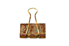 Rust paper clip. On white background Stock Images
