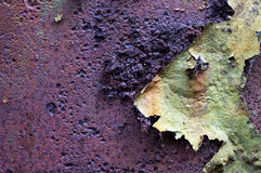 Rust Peeling Paint 2. Rusty bumpy brown and purple textured background with green peeling paint with space for text Royalty Free Stock Photography