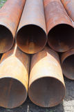 Rust pipes for trunk pipeline Stock Image