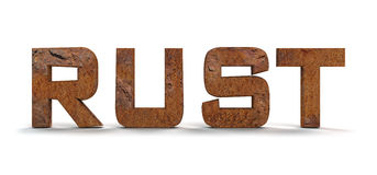 Rust. Y letters isolated on white background Stock Photo