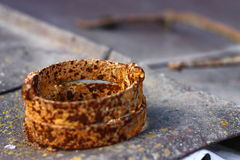 Rust. Small rusty object on old lichen roof Stock Photography