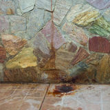 Rust stains on the stone concrete wall Stock Images