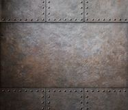 Rust steel metal texture with rivets as steam punk. Rust metal texture with rivets background Royalty Free Stock Photos