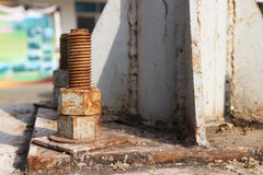 Rust steel nuts and bolts Stock Image
