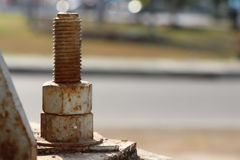 Rust steel nuts and bolts Stock Photo