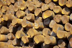 Rust steel rods with number Stock Photos