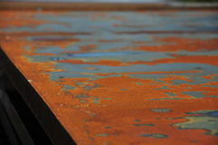 Rust at the steel sheet. Red rust at the steel sheet lookes like a map Royalty Free Stock Photography