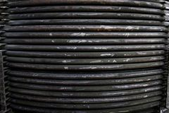 Rust steel tubes of the heat exchanger for maintenance, the water heater in the boiler as background. Manufacturing in Thailand stock photography