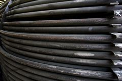 Rust steel tubes of the heat exchanger for maintenance, the water heater in the boiler as background. Manufacturing in Thailand royalty free stock image