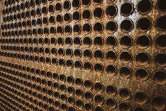 Rust tube sheet of the heat exchanger for maintenance, the water heater in the boiler as background. Manufacturing in Thailand royalty free stock images