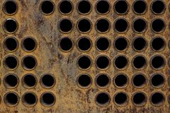 Rust tube sheet of the heat exchanger for maintenance, the water heater in the boiler as background. Manufacturing in Thailand stock photos