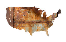 Rust USA. Map of USA filled with rust as metaphor of bad condition of United States of America - decline and decay of country. Negative devastation, ruin and Stock Images