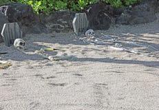 Rust in Vredesrip twee skeletten in zand worden begraven dat Stock Foto