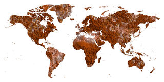 Rust world map flat earth. Rustic atlas. Land with iron rusty corrupted polluted dying textures. PNG with transparent background Stock Photography