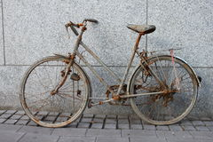 Rustbike. A old bike full of rust and mud royalty free stock images