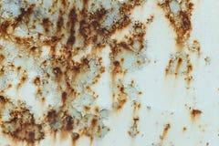 Rusted покрасило стену металла Ржавая предпосылка металла с штриховатостями ржавчины поверхность металла заржавела пятна Стоковая Фотография RF