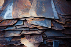 Rusted. Steel sheets and pieces in a workshop Stock Photos