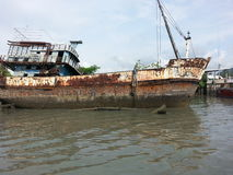 Rusted abandoned boat ship wreck Royalty Free Stock Photography