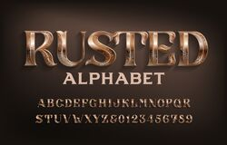 Free Rusted Alphabet Font. Ancient Scratched Metal Letters And Numbers. Royalty Free Stock Photo - 188001145