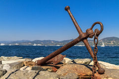 Rusted Anchor Monument. St. Tropez, France Royalty Free Stock Photography