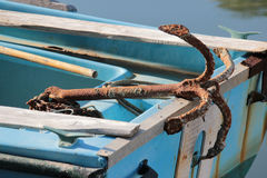 Rusted anchor. Old rusted anchor in the village of Messongi, Corfu island, Greece Stock Photo