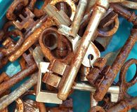Rusted keys, close-up picture stock photography
