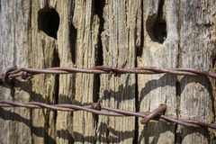 Rusted Barbed Wire Fence Stock Image