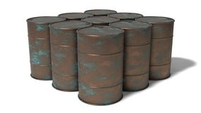 Rusted barrels. 3d rusted barrels illustration.isolated on white Royalty Free Stock Photography