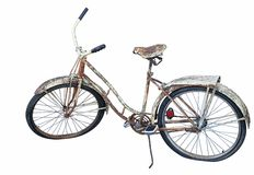 Rusted Bicycle on White Background Stock Photography