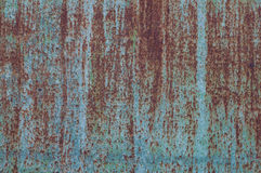 Rusted blue painted metal wall. Royalty Free Stock Image