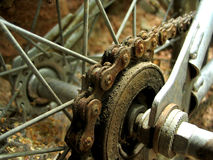 Rusted bmx gear. Rear gear on my old bike royalty free stock photography