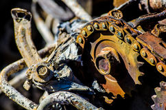 Rusted and burned out vehicle engine detail. Detail of the burned out and rusted engine of an old car destroyed in the devastating fires that occurred in Knysna Royalty Free Stock Photo