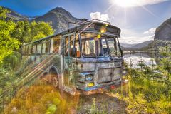 Rusted bus stock photos