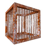 Rust cage rustic cubic prison. Isolated rusty cage. Heavy secured prison with strong bars. Fictional cubic jail block for horror animal or monster. PNG with stock illustration