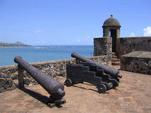 Rusted Cannons at Old Caribbean Fortress Stock Photo