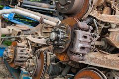 Rusted car brake discs. Pile of rusted brake discs on a scrap yard Stock Images