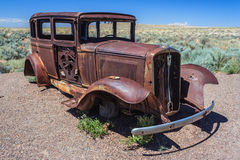 Rusted carcass of old abandoned car at Historic Route 66 in Arizona USA Stock Image