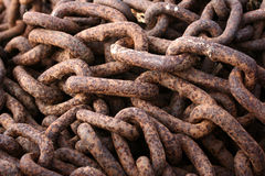Rusted chain. In a harbor in denmark  a rusted  chain Royalty Free Stock Photography